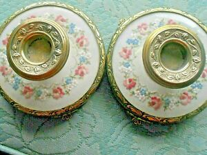 Vintage Pair Ornate Gold PETIT POINT Dressing Table Set Candle HOLDERS