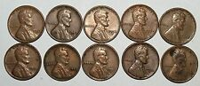 Lincoln Wheat Cent Penny - Lot of 10 Coins - Mixed Dates: 1951 - 1958 (lot# 18)