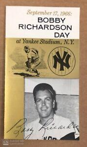 BOBBY RICHARDSON DAY 1966 NY YANKEES BOOKLET PAMPHLET YANKEE STADIUM 9/17/66