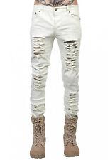 Men's Black Skinny Slim Fit Jeans Distressed Ripped Destroyed Holes Denim Pants