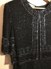 Vtg Laurence Kazar Black Beaded Silk Formal Gown Evening Party New Years Sz 1X