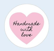 Personalised Handmade With Love Stickers, Seals, Labels, Hearts, Pink, Business