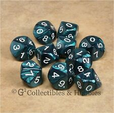 NEW 10 D10 Pearlized Emerald Green RPG Game Dice Set in Tube Ten Sided