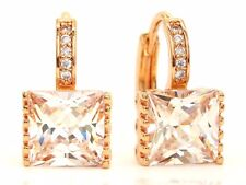 Real rose gold plated hoop earrings big princess cubic zirconia gems purple bag