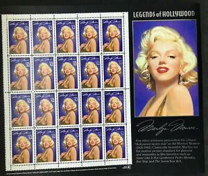 Marilyn Monroe Stamps 1995 Legends Of Hollywood Sheet of 20 USA 32¢ Norma Jeane
