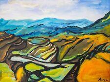 Modern Original Abstract Painting Landscape Tuscany Yellow Blue Fields Anya