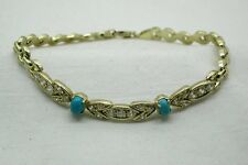 Vintage Super Style 14ct Gold Turquiose And White Stone Set Bracelet