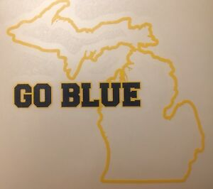 """University Of Michigan Wolverines GO BLUE Decal 5.0""""x4.6"""" 2 Color *FREE SHIPPING"""
