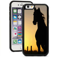 For iPhone X XS Max XR 7 8 Plus Shockproof Hard Soft Case 289 Horse in Sunset