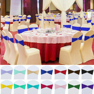 25/50/100 Spandex Stretch Chair Covers Sash Bow Wedding w/ Buckle Slider Sashes