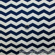 BonEful Fabric FQ Cotton Quilt Navy Blue Cream Off White Chevron Stripe Texture