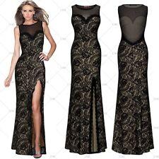 Women's Formal Lace Evening Party Dress Bridesmaid Mesh Split Side Maxi Dresses