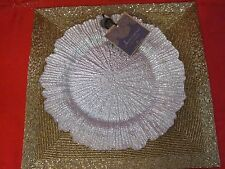 ARTISTIC ACCENTS SPARKLING SILVER HOLIDAY GLASS DINNER PLATES CHIC SET OF 4 NEW