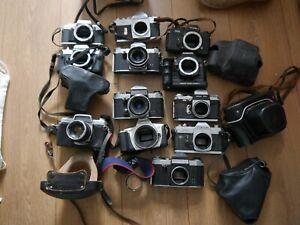 Joblot of cameras Olympus Yashica Canon Kowa Chinon Praktica WORKING