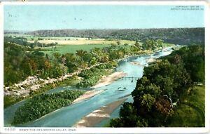 ANITA, IOWA 1911 - DOWN THE DES MOINES VALLEY AERIAL VIEW BLUE SKY, BRIDGES