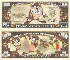 Tasmanian Devil Animated Cartoon Character Million Dollar Bills x2 Taz Animation