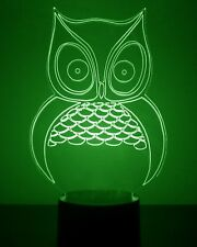 Owl LED Night Light - Personalized FREE - 16 Color Light Up LED w/ Remote