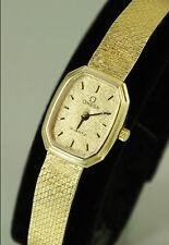14k SOLID GOLD Omega ladies quartz watch, 14k SOLID GOLD bracelet, Omega Box