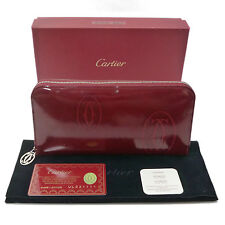 Auth Cartier Happy Birthday Round Zip Long Wallet Bordeaux CRL3001283 #K161192