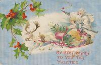 CHRISTMAS – Santa, Girl and Reindeer Pulling Sled - 1907