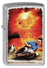PREIS - KNÜLLER!! ZIPPO Feuerzeug SOCCER ON FIRE Street Chrome Fußballer NEU OVP