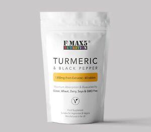 Turmeric Curcumin 1600mg PLUS Black Pepper Pills Tumeric Tablets - GMP UK MADE