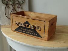 D18 Wooden Box Corned Beef Box Shabby Chic Vintage Brazil