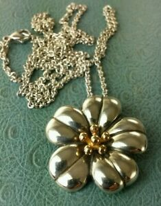 """James Avery Retired 18k & .925 April Flower Pendant W/24"""" Avery Rolo Necklace"""