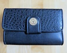 GLORIA VANDERBILT FAUX BLACK LEATHER CROC BIFOLD CLUTCH WALLET