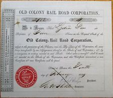 'Old Colony Rail Road' 1849 Railroad Stock Certificate - Type 2