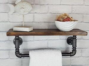 Industrial Pipe Bathroom Towel Rail With Rustic Oak Wooden Shelf