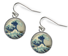 GREAT WAVE Hokusai - Glass Picture Earrings – Silver Plated Picture Jewellery