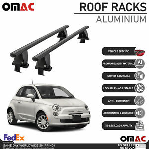 Fits Fiat 500 2015-2020 Smooth Roof Rack Cross Bar Carrier Rail Black Aluminium