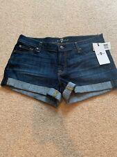 7 For All Mankind Dk Denim Cuffed Shorts Sz 30 NWT