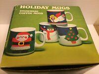 Holiday Mugs Vintage Stoneware Coffee Mugs