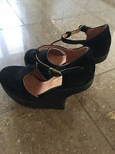 JEFFERY CAMPBELL BRAND NEW BLACK SUEDE CUT OUT WEDGE HEELS SIZE 5