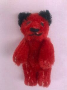 VINTAGE 1950's - MINIATURE - SCHUCO - RED JOINTED TEDDY BEAR GERMANY - NOS