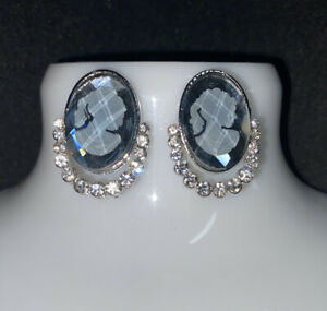 Grey Glass Cameo And Diamante Stone Statement Earrings