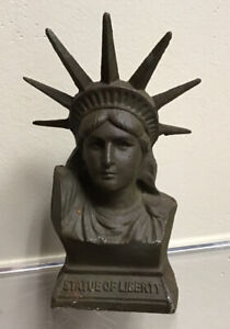 Cast Iron Vintage Liberty Bust Bank Oops Spelling Statue Of Lberty State Bank Pa