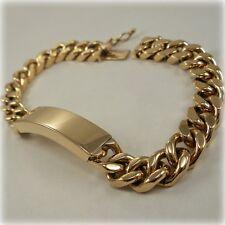 "9 carat Gold 8"" solid Curb Link Identity Bracelet"