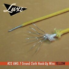 "LUXE RADIO YELLOW 22 AWG 7 STRAND TINNED COPPER CLOTH COVERED WIRE 12"" 30.48Cms"