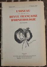L'OISEAU et la Revue française d'Ornithologie ✤ VoL XXV / 1er trimestre 1955