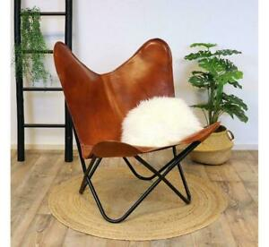 Handmade Brown Vintage TC Leather Butterfly Chair Classic (Cover & Chair)