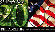 """2003-A $2 Single Note, Philadelphia, Year """"2008"""" in Ser #, from the BEP (U-87)"""