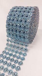 Diamond Flower Mesh 4 Inch X 10 Yards  Rhinestone Ribbon Wrap for Wedding Party