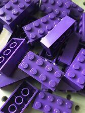 Lego Dark Purple 2x4 Bricks Blocks Building Wall Friends Lot Of 25