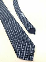 Hermes Silk Tie Blue Geometric Feathers Print 5334 TA Made In France
