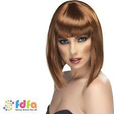 Brown court blunt cut glam perruque avec frange femme costume robe fantaisie