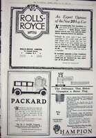 Original Old Vintage Print 1923 Advertisement Rolls-Royce Motor Car Champion
