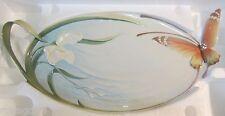 "Franz Porcelain Papillon Butterfly Sculpture Large 18"" Handled Platter/Tray NEW"